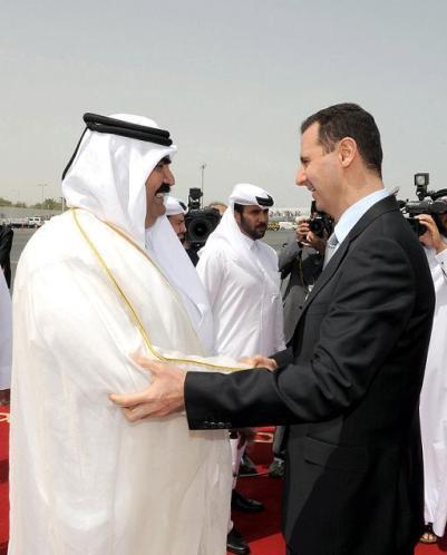 Cheikh Hamad Ben Khalifa Al Thani et Bachar al-Assad
