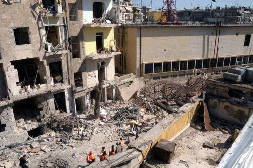 Le quartier de Souleimanyieh à Alep où a eu lieu l'attentat à la voiture piégée dimanche. Image: AFP