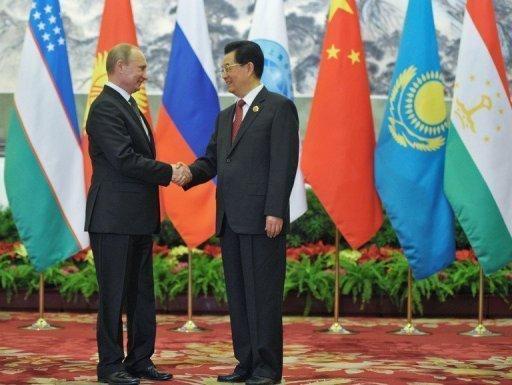 Vladimir Poutine et  Hu Jintao