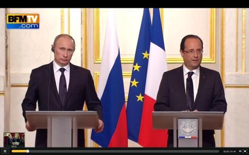 Poutine et Hollande à l'Elysée (01-05-2012)