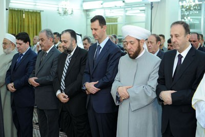 Bachar al-Assad ce matin dans la mosquée d'al-Hamad (quartier d'al-Mouhajirine à Damas)