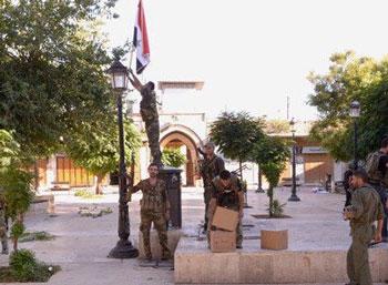 Soldats Syriens à Alep ce matin