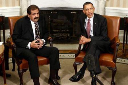 Barack Obama (USA) et Hamad bin Khalifa al-Thani (Qatar)