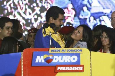 Nicolás Maduro et l'une des filles de Chavez