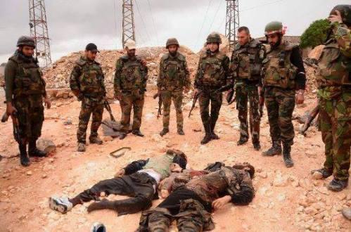 Militaires syriens à Al-Dabaa, le 06 juin 2013