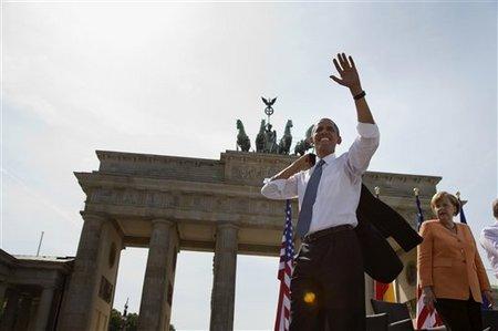 Barack Obama et Angela Merkel, Porte Brandeburg