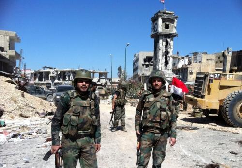 Soldats syriens à Homs, le 05/06/2013