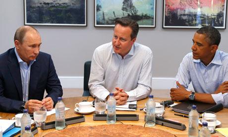 Vladimir Poutine, David Cameron et Barack Obama