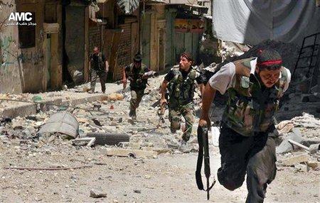 Terroristes en débandande /AP/ Photo/ Aleppo Media Center (AMC)