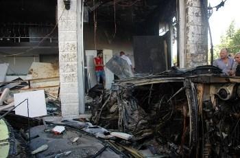 Scène de l'attentat à Homs