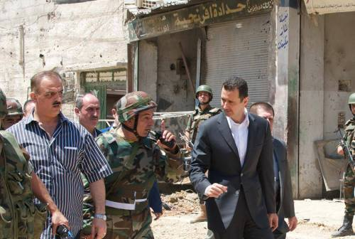 Le président Bachar al-Assad à Daraya en fin de matinée