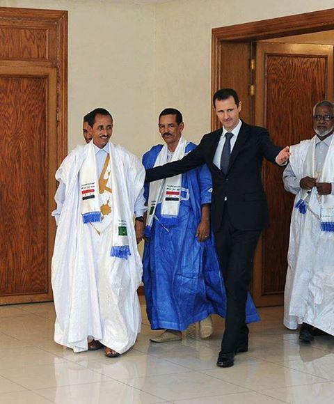 Bachar al-Assad raccompagnant les Mauritaniens qu'il a reçu à Damas le 18/08/2013