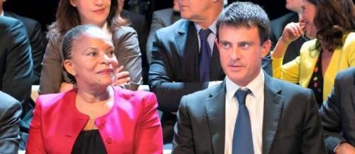 Christiane Taubira et Manuel Valls en septembre 2012, lors de l'émission Des paroles et des actes. © Bertrand Langlois / AFP