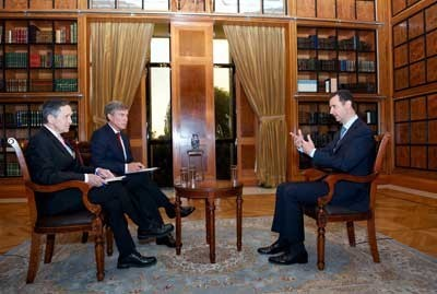 Al-Assad face à Dennis Kucinich et Greg Palkot