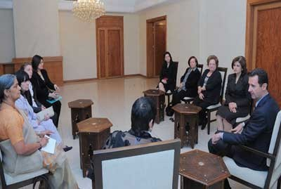 Assad et la délégation des femmes