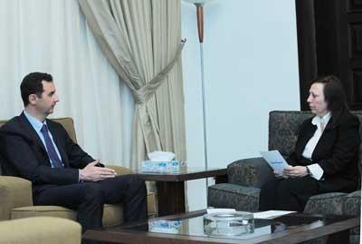 Al-Assad et la journaliste de Tichrine