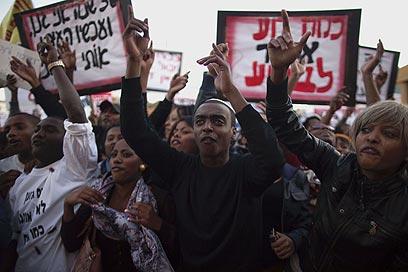 Protestation des falashas contre le racisme à Kiryat Malachi