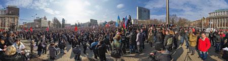 Rassemblement place centrale Lénine à Donetsk