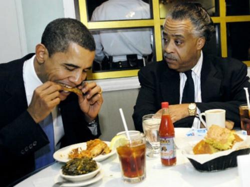 Barack Obama et Al Sharpton dans un fast-food