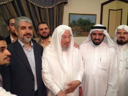 Khaled Meechal, boss du Hamas, avec l'iman Qârâdâwi