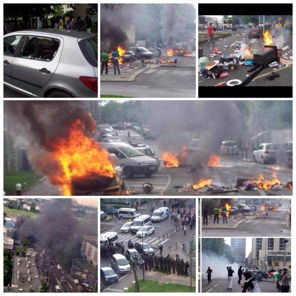 Collage photos des échauffourées de Sarcelles