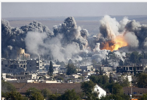 Bombardements à Kobani