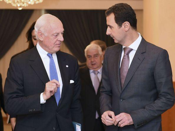 Staffan de Mistura et Bashar al-Assad