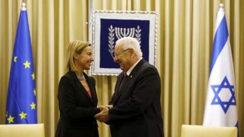 Federica Mogherini, chef de la diplomatie européenne, et le président israélien Reuven Rivlin © reuters.