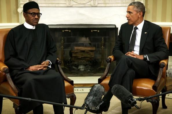 Le président Barack Obama rencontre le président nigérian Muhammadu Buhari à la Maison Blanche le 20 Juillet Photo: Getty Images